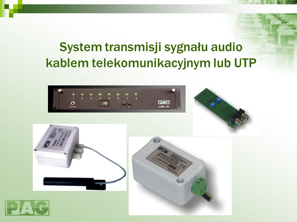 System transmisji sygnału audio kablem telekomunikacyjnym lub UTP