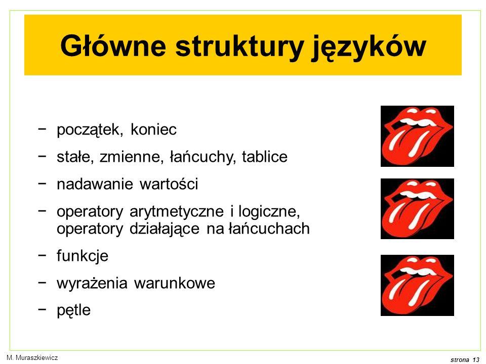 Główne struktury języków