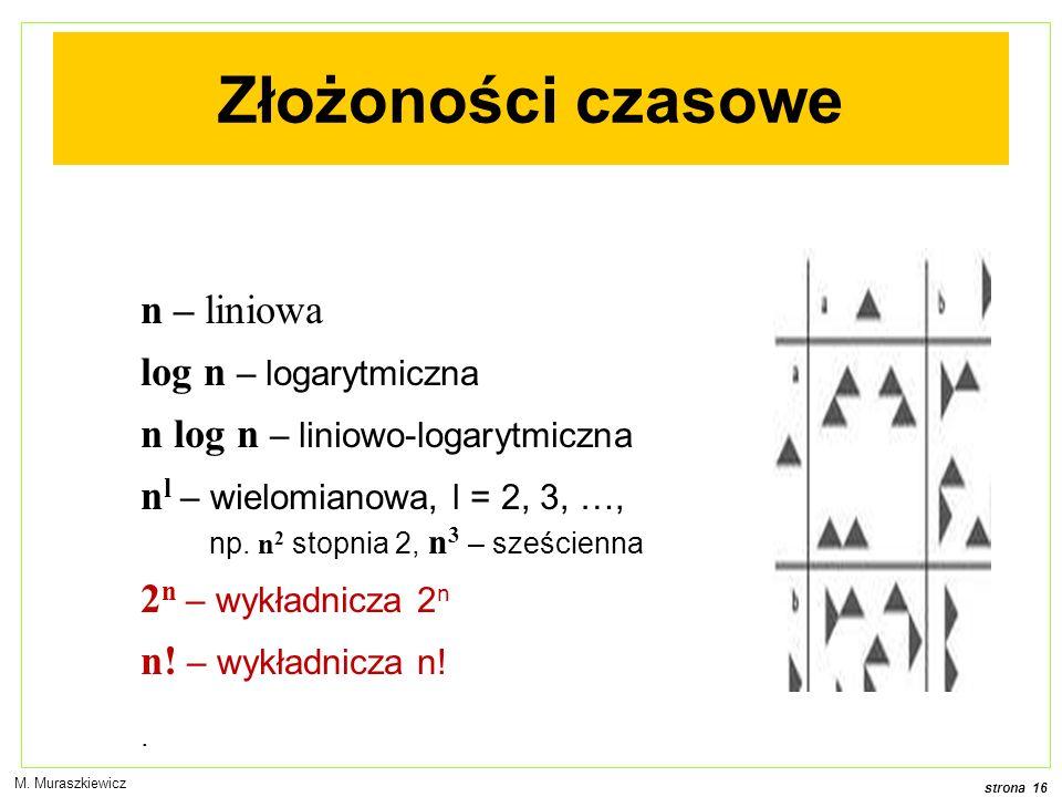 Złożoności czasowe n – liniowa log n – logarytmiczna