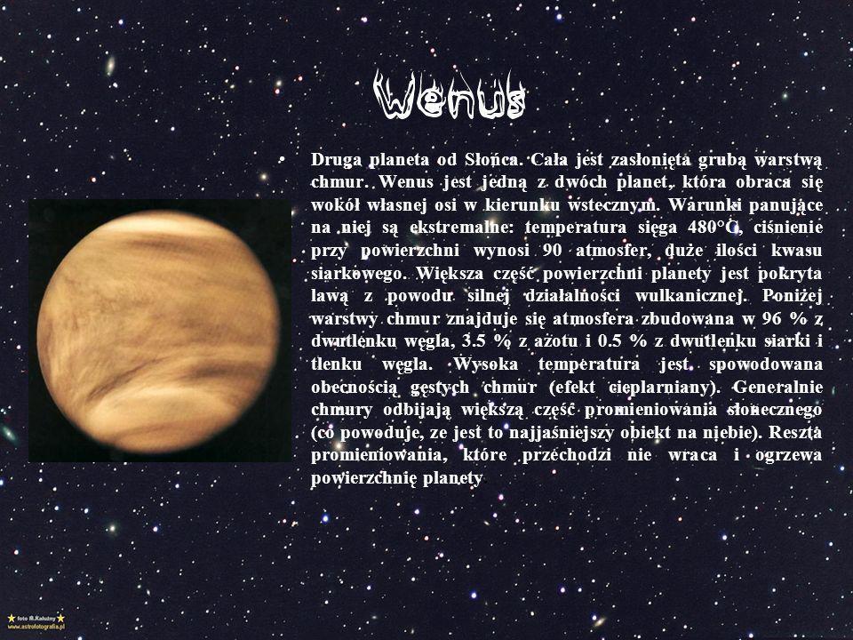 Druga planeta od Słońca. Cała jest zasłonięta grubą warstwą chmur