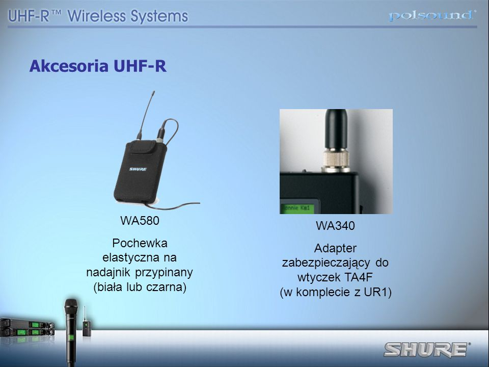 Akcesoria UHF-R WA580. Pochewka elastyczna na nadajnik przypinany (biała lub czarna) WA340.