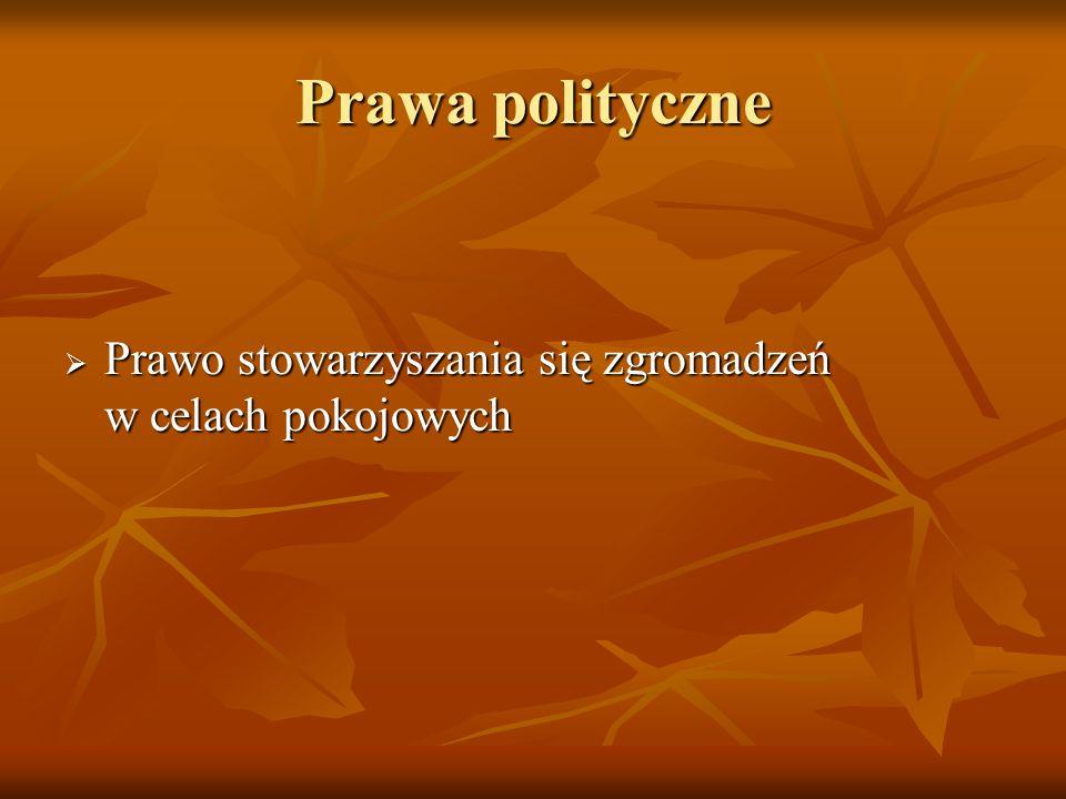 Prawa polityczne Prawo stowarzyszania się zgromadzeń w celach pokojowych