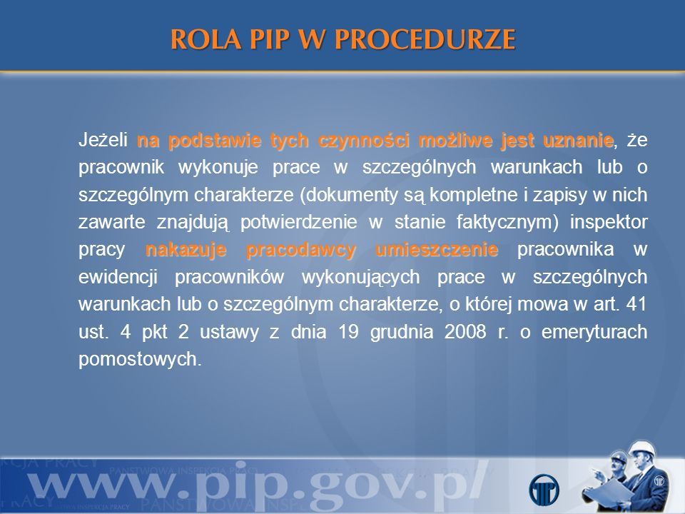ROLA PIP W PROCEDURZE