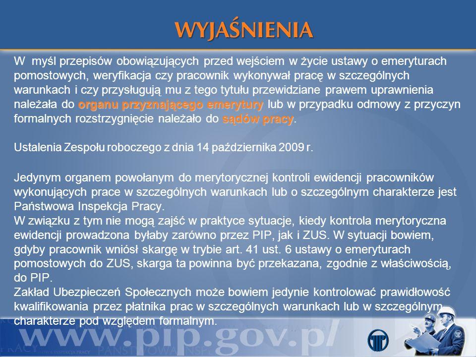 WYJAŚNIENIA Ustalenia Zespołu roboczego z dnia 14 października 2009 r.