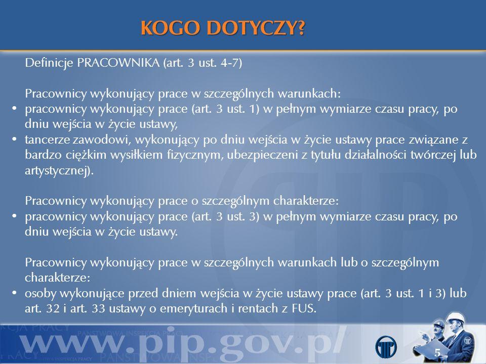 KOGO DOTYCZY Definicje PRACOWNIKA (art. 3 ust. 4-7)