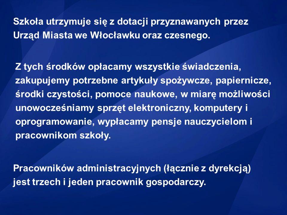 Szkoła utrzymuje się z dotacji przyznawanych przez Urząd Miasta we Włocławku oraz czesnego.