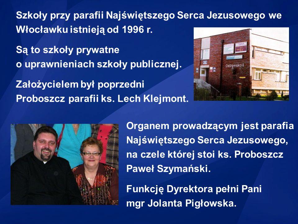 Szkoły przy parafii Najświętszego Serca Jezusowego we Włocławku istnieją od 1996 r.