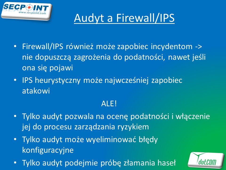 Audyt a Firewall/IPSFirewall/IPS również może zapobiec incydentom -> nie dopuszczą zagrożenia do podatności, nawet jeśli ona się pojawi.