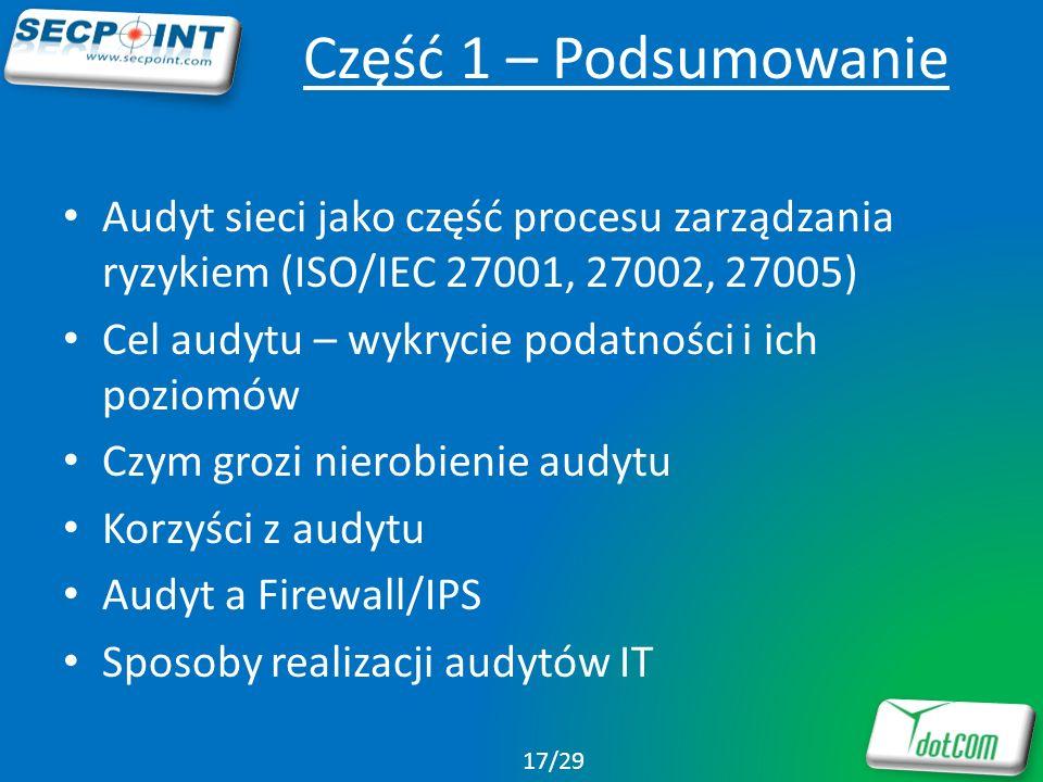 Część 1 – PodsumowanieAudyt sieci jako część procesu zarządzania ryzykiem (ISO/IEC 27001, 27002, 27005)