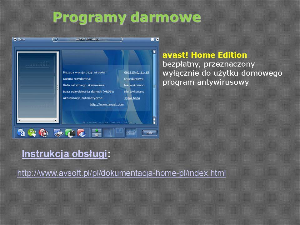 Programy darmowe Instrukcja obsługi: