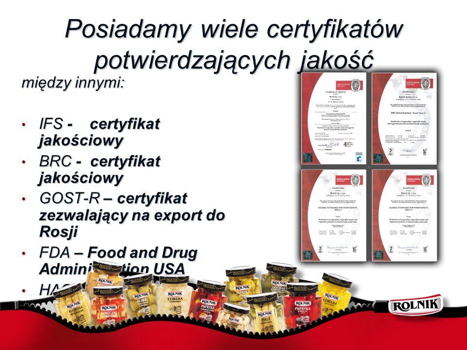 Posiadamy wiele certyfikatów potwierdzających jakość