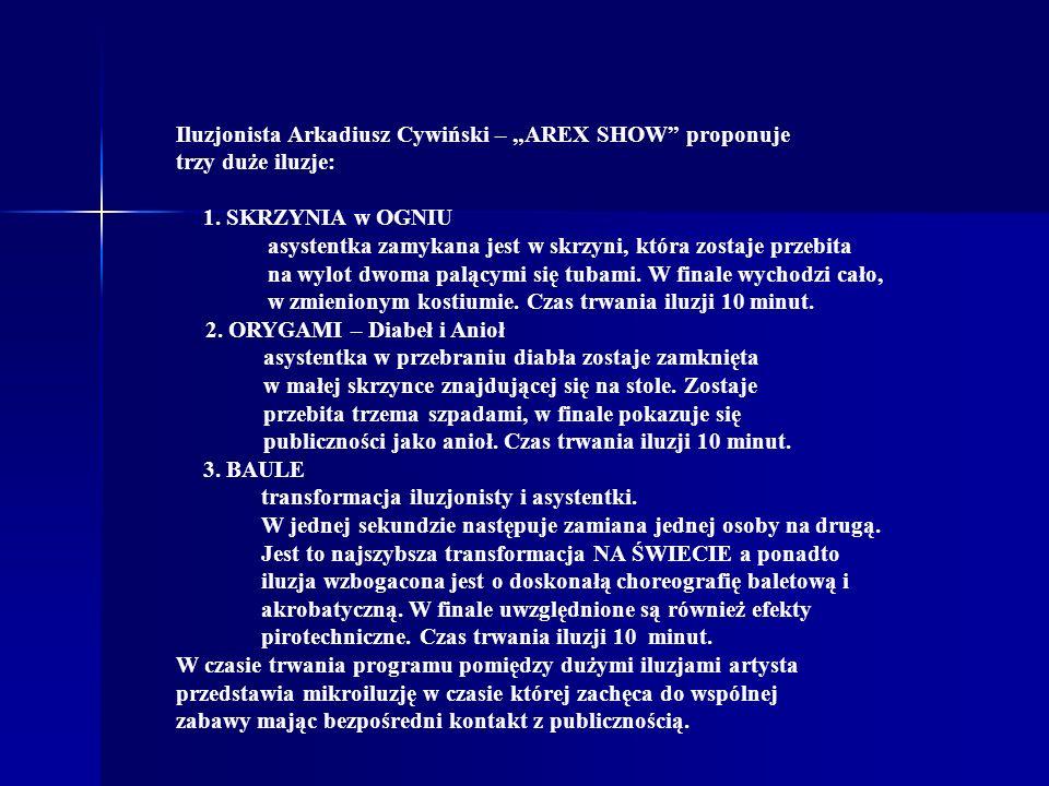 """Iluzjonista Arkadiusz Cywiński – """"AREX SHOW proponuje"""