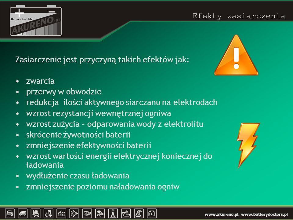 Efekty zasiarczenia Zasiarczenie jest przyczyną takich efektów jak: zwarcia. przerwy w obwodzie.