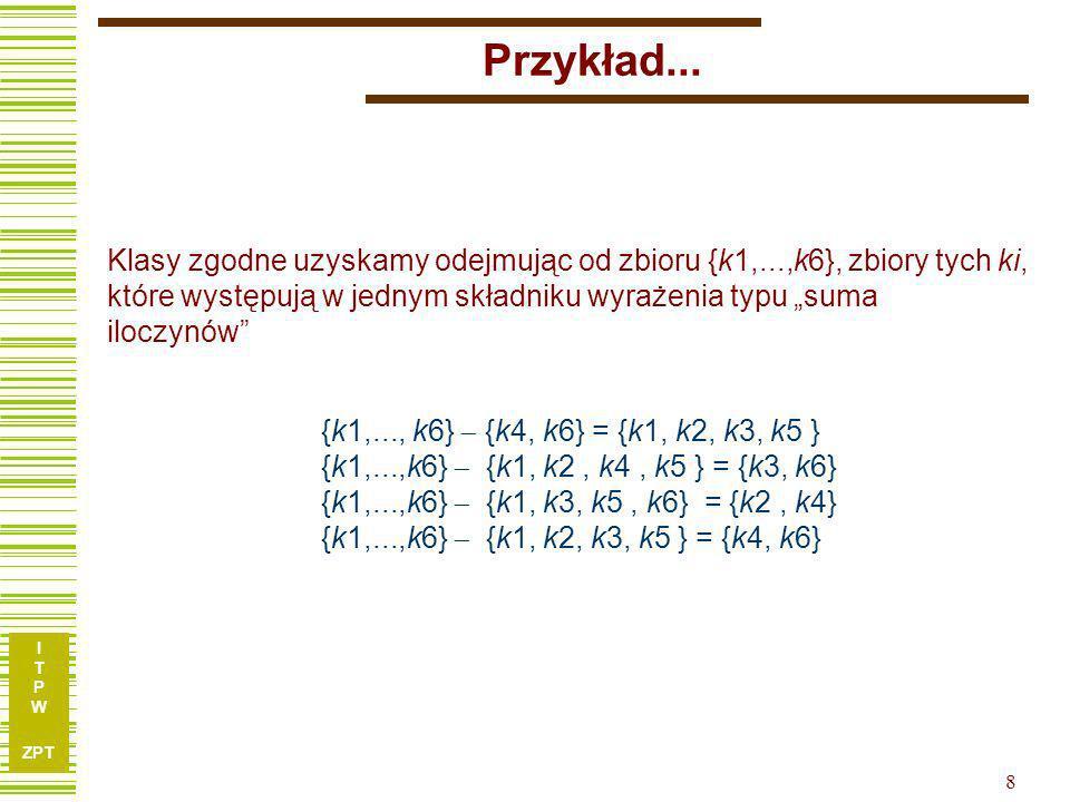 Przykład... Klasy zgodne uzyskamy odejmując od zbioru {k1,...,k6}, zbiory tych ki,