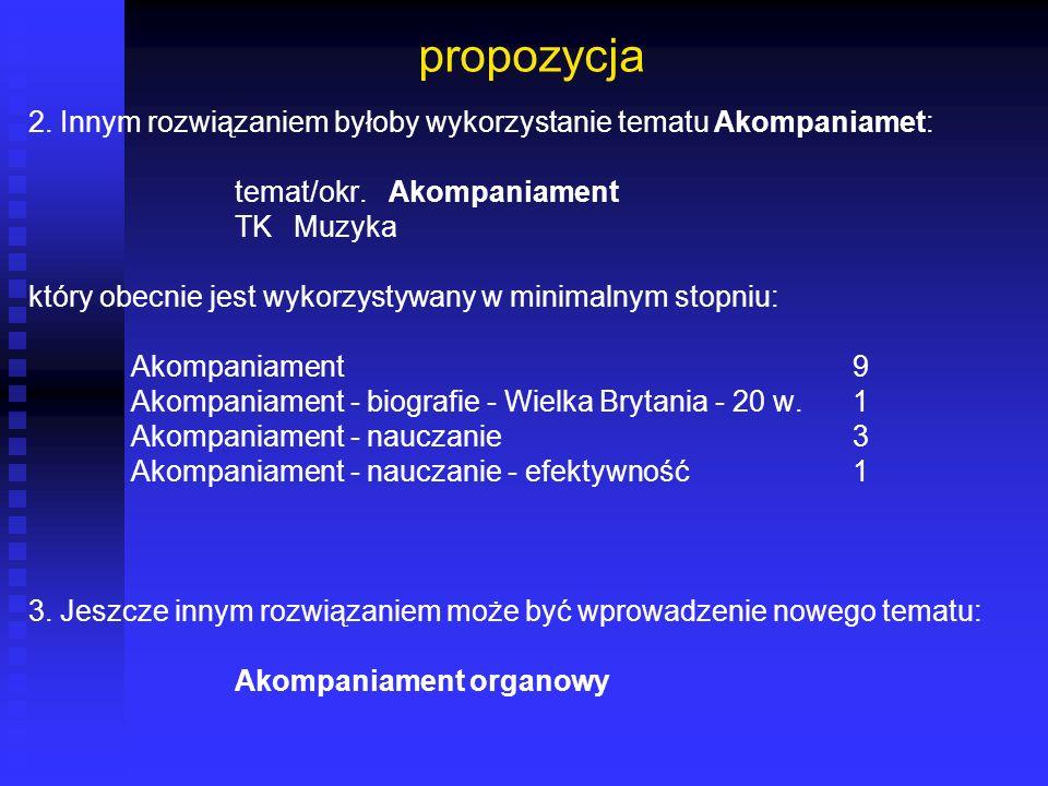 propozycja 2. Innym rozwiązaniem byłoby wykorzystanie tematu Akompaniamet: temat/okr. Akompaniament.