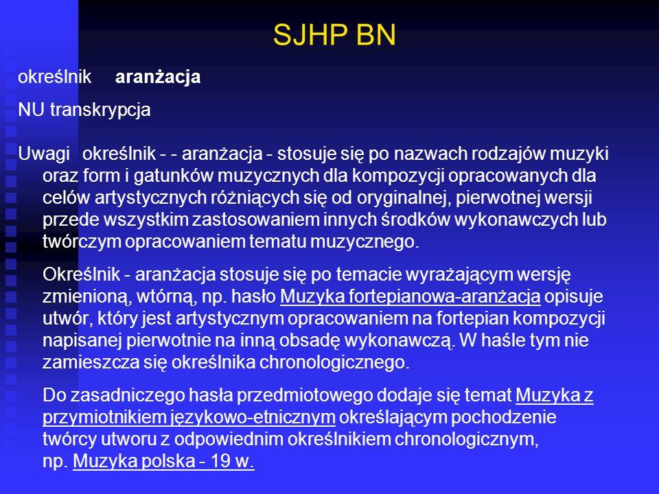 SJHP BN określnik aranżacja NU transkrypcja