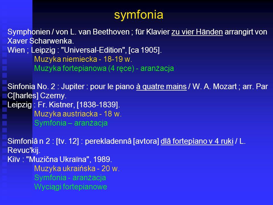 symfonia Symphonien / von L. van Beethoven ; für Klavier zu vier Händen arrangirt von. Xaver Scharwenka.