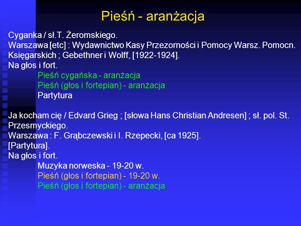 Pieśń - aranżacja Cyganka / sł.T. Żeromskiego.