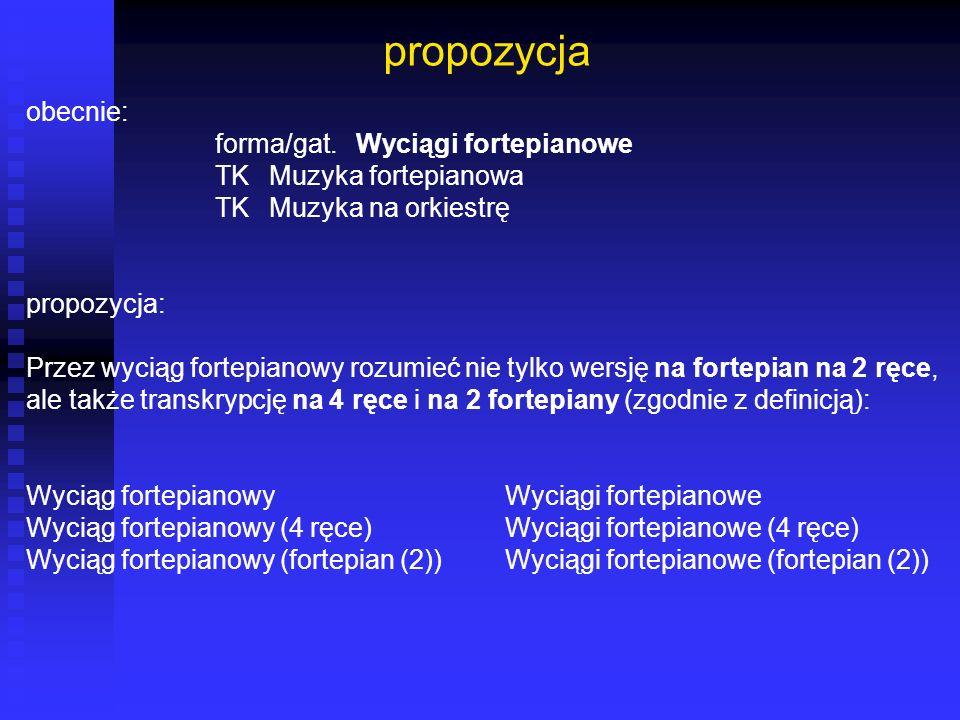 propozycja obecnie: forma/gat. Wyciągi fortepianowe