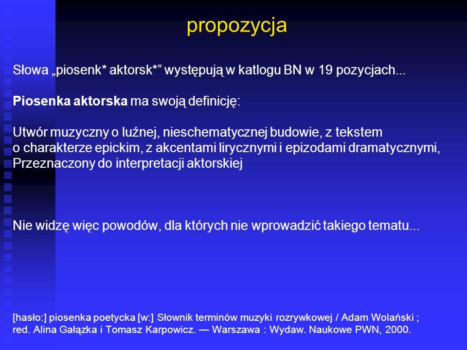"""propozycja Słowa """"piosenk* aktorsk* występują w katlogu BN w 19 pozycjach... Piosenka aktorska ma swoją definicję:"""