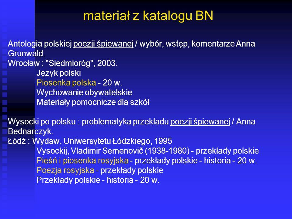 materiał z katalogu BN Antologia polskiej poezji śpiewanej / wybór, wstęp, komentarze Anna. Grunwald.