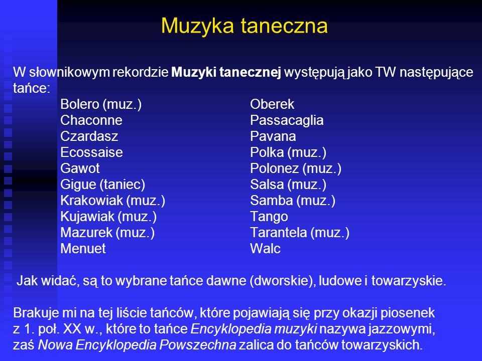 Muzyka taneczna W słownikowym rekordzie Muzyki tanecznej występują jako TW następujące. tańce: Bolero (muz.) Oberek.