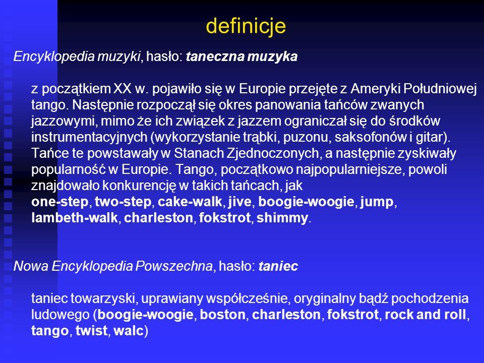 definicje Encyklopedia muzyki, hasło: taneczna muzyka