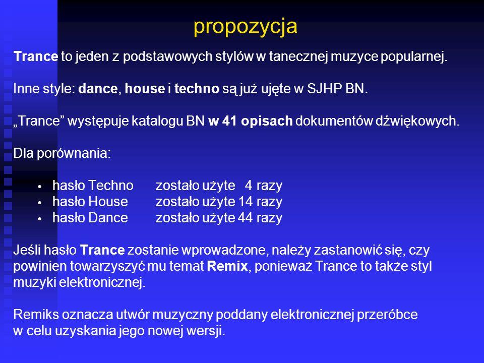 propozycja Trance to jeden z podstawowych stylów w tanecznej muzyce popularnej. Inne style: dance, house i techno są już ujęte w SJHP BN.