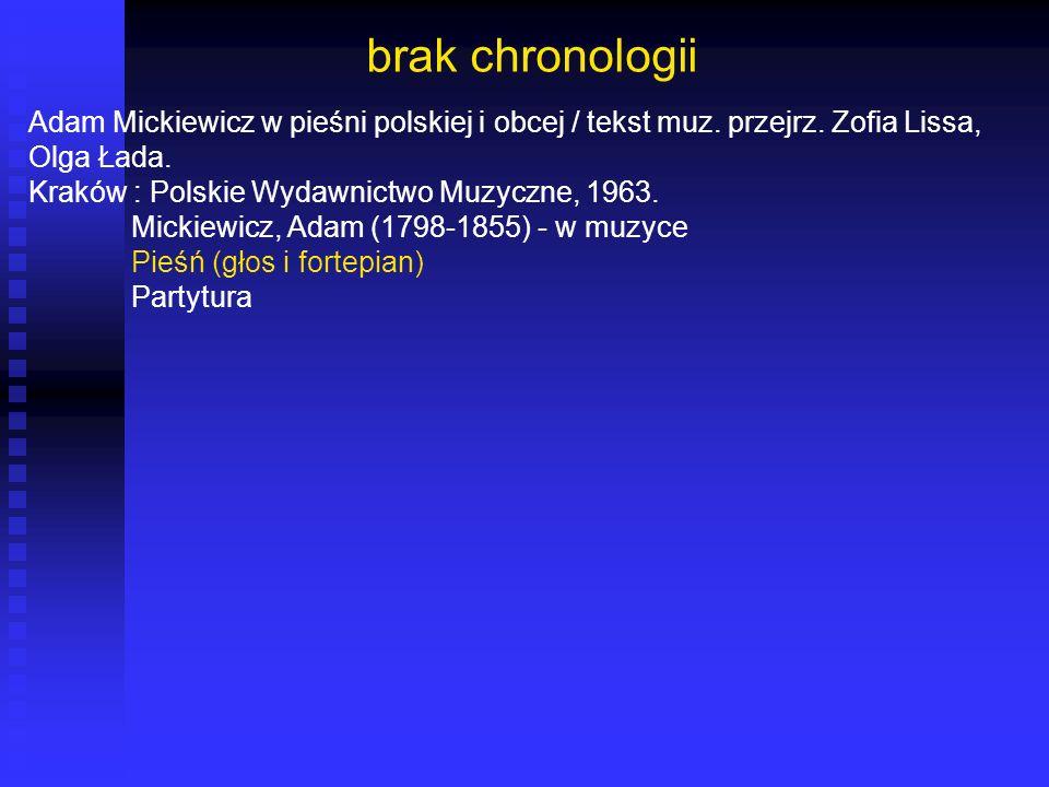 brak chronologii Adam Mickiewicz w pieśni polskiej i obcej / tekst muz. przejrz. Zofia Lissa, Olga Łada.
