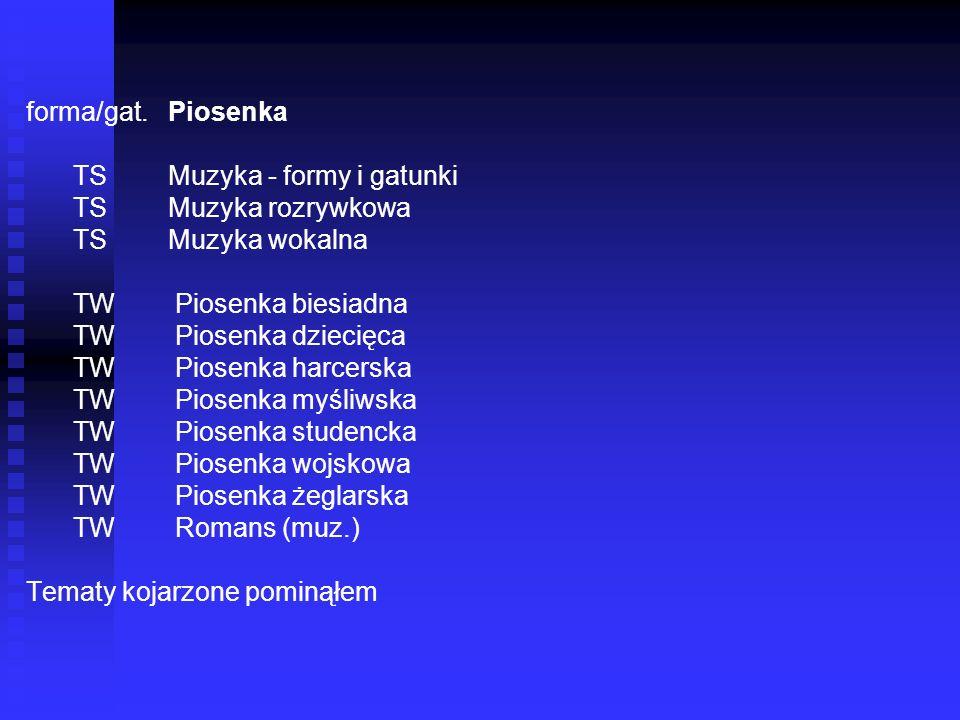 forma/gat. Piosenka TS Muzyka - formy i gatunki. TS Muzyka rozrywkowa. TS Muzyka wokalna.