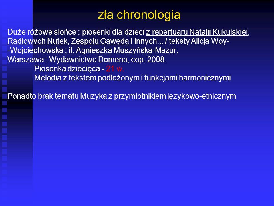 zła chronologia Duże różowe słońce : piosenki dla dzieci z repertuaru Natalii Kukulskiej,