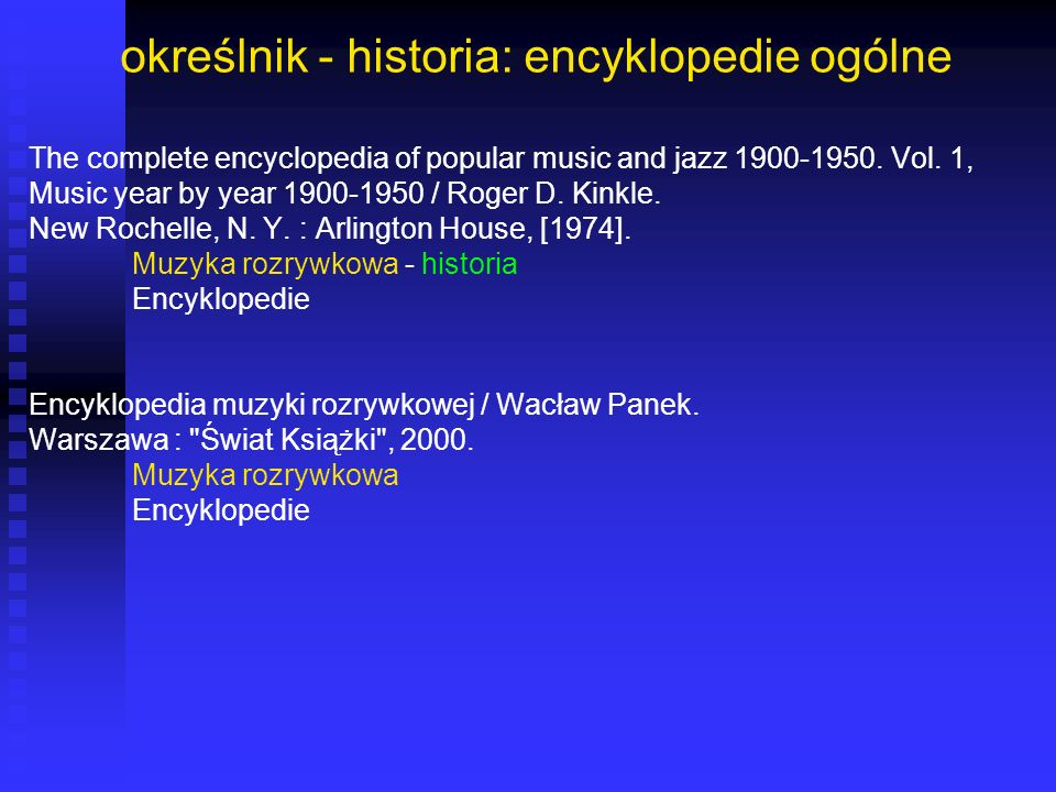określnik - historia: encyklopedie ogólne