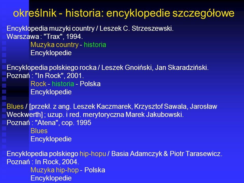 określnik - historia: encyklopedie szczegółowe