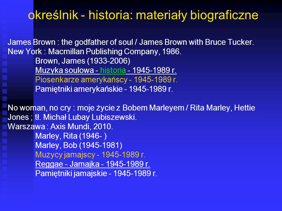 określnik - historia: materiały biograficzne