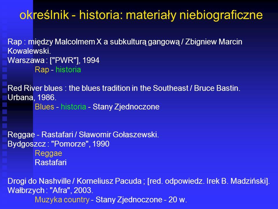 określnik - historia: materiały niebiograficzne