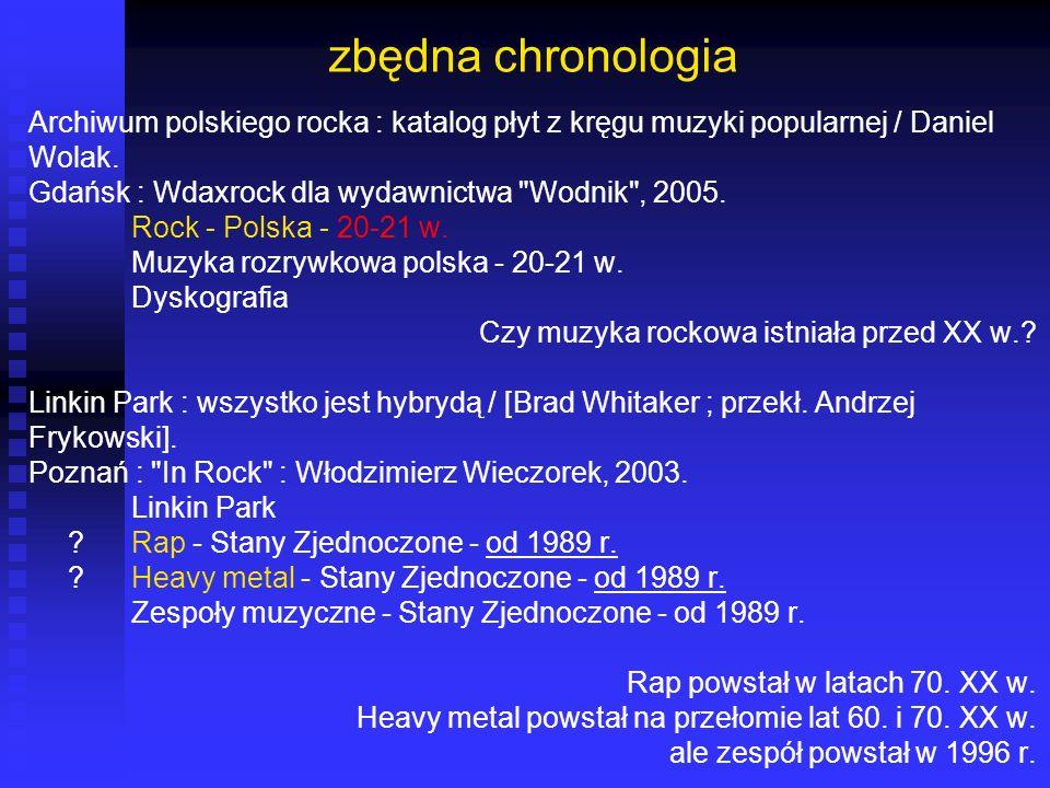 zbędna chronologia Archiwum polskiego rocka : katalog płyt z kręgu muzyki popularnej / Daniel. Wolak.