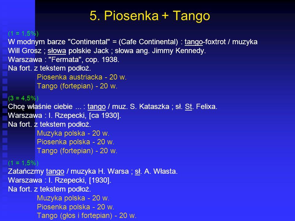 5. Piosenka + Tango (1 = 1,5%) W modnym barze Continental = (Cafe Continental) : tango-foxtrot / muzyka.
