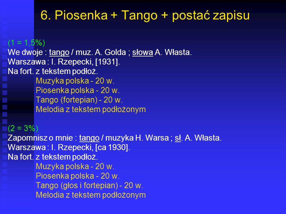 6. Piosenka + Tango + postać zapisu
