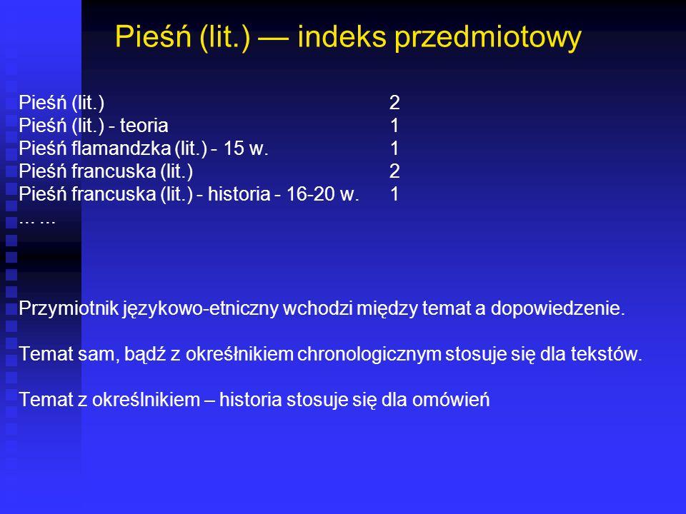 Pieśń (lit.) — indeks przedmiotowy
