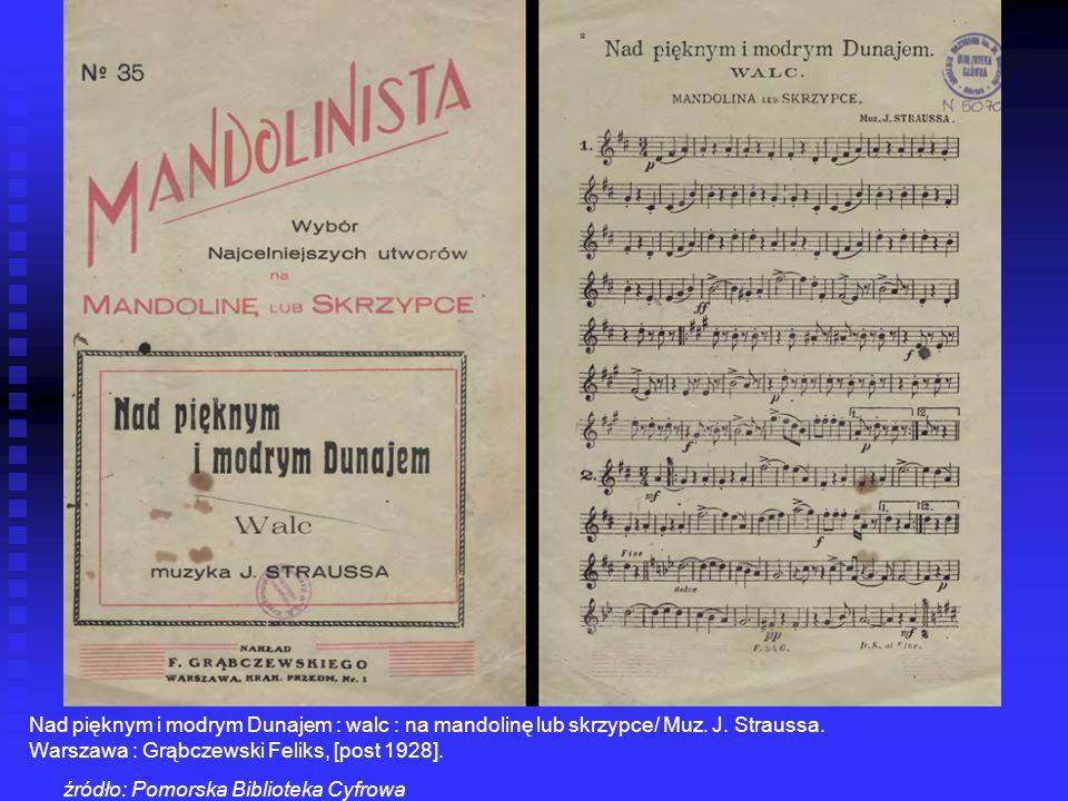 Nad pięknym i modrym Dunajem : walc : na mandolinę lub skrzypce/ Muz. J. Straussa.