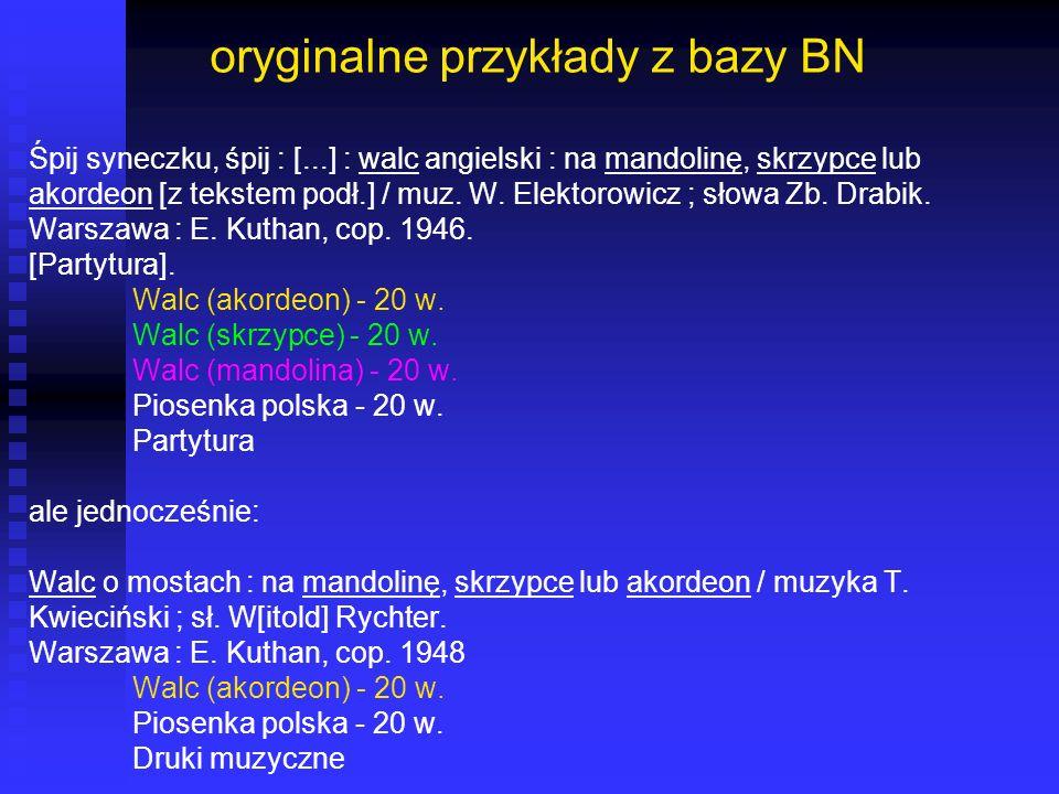 oryginalne przykłady z bazy BN
