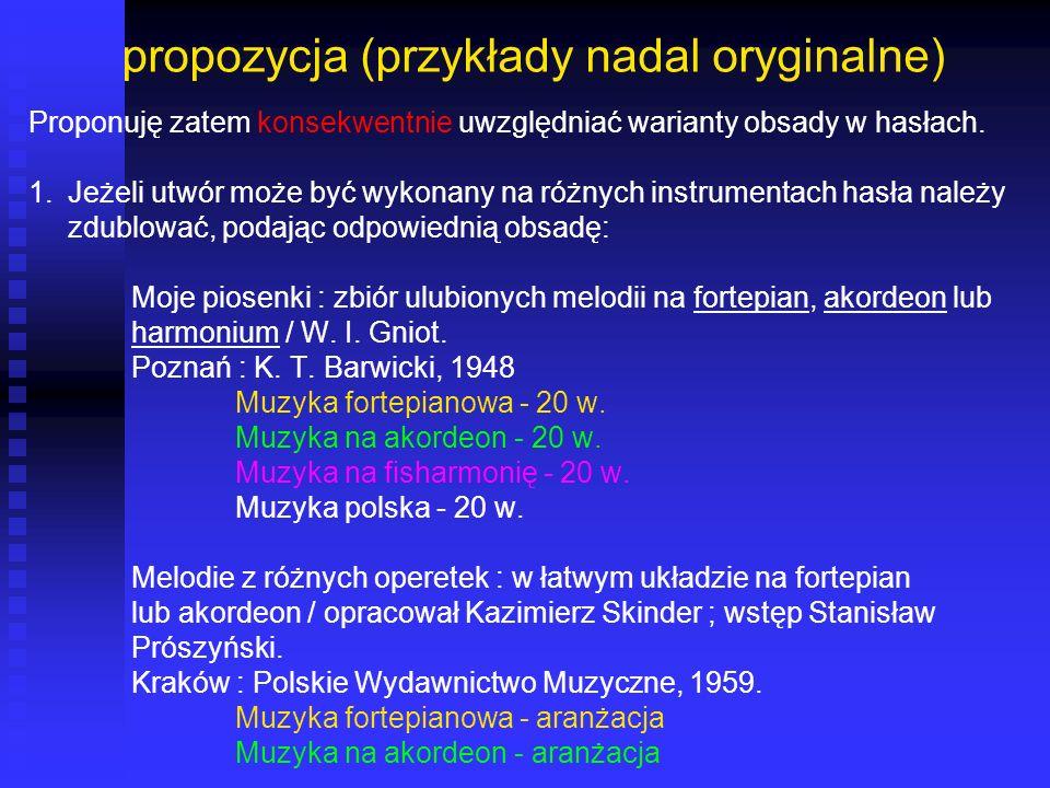 propozycja (przykłady nadal oryginalne)