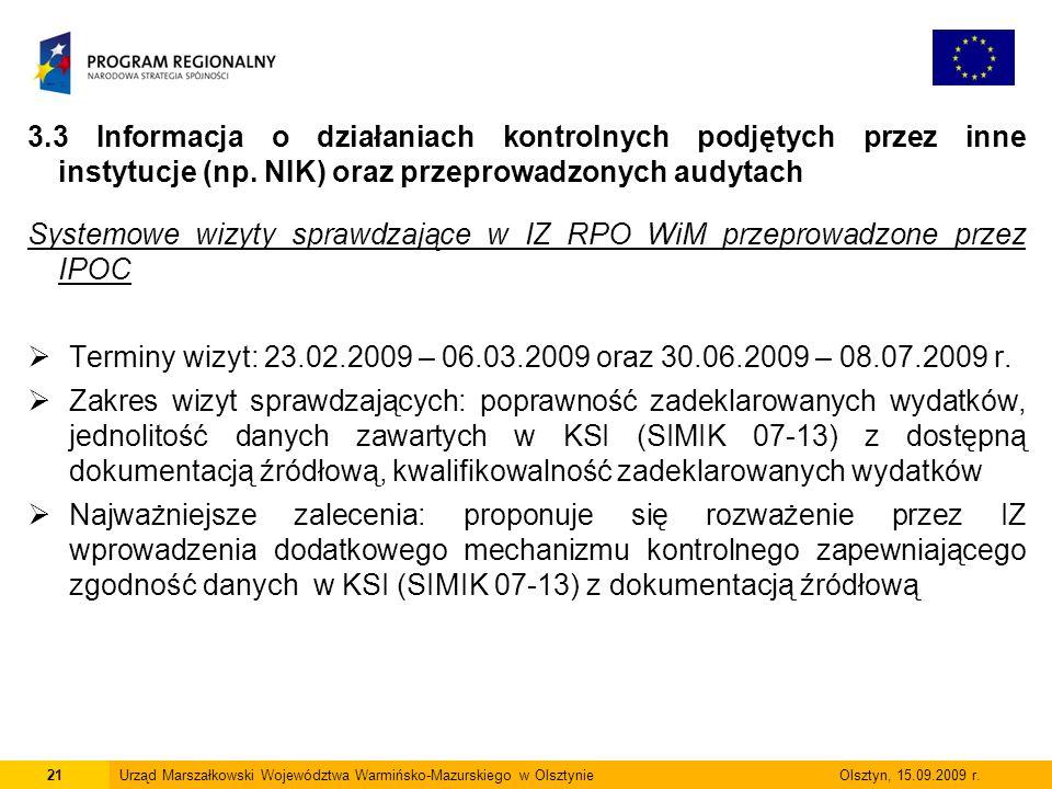 Systemowe wizyty sprawdzające w IZ RPO WiM przeprowadzone przez IPOC