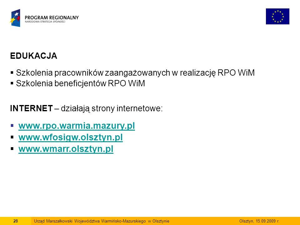www.rpo.warmia.mazury.pl www.wfosigw.olsztyn.pl www.wmarr.olsztyn.pl