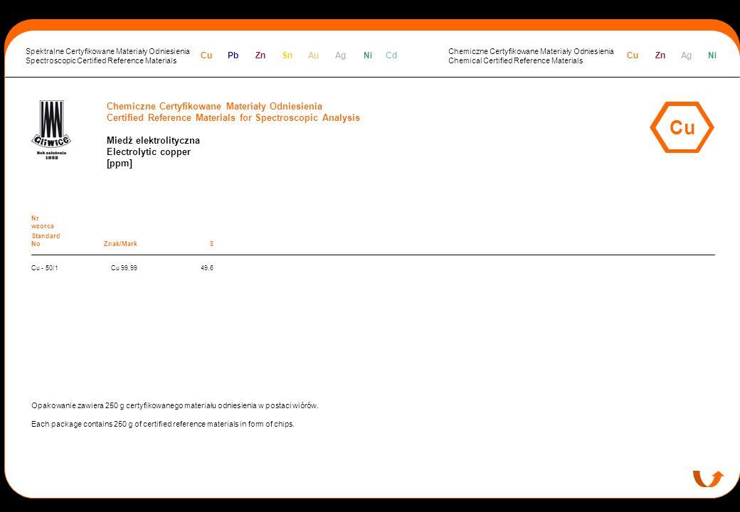 Cu Chemiczne Certyfikowane Materiały Odniesienia
