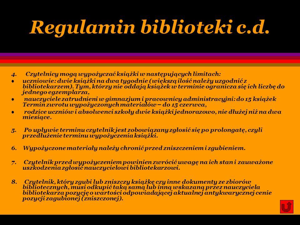 Regulamin biblioteki c.d.