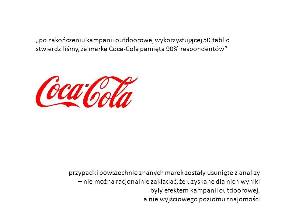 """""""po zakończeniu kampanii outdoorowej wykorzystującej 50 tablic stwierdziliśmy, że markę Coca-Cola pamięta 90% respondentów"""