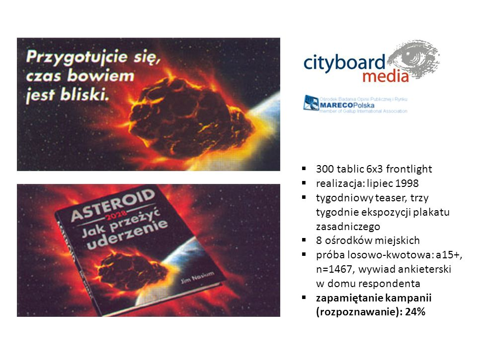 300 tablic 6x3 frontlight realizacja: lipiec 1998. tygodniowy teaser, trzy tygodnie ekspozycji plakatu zasadniczego.