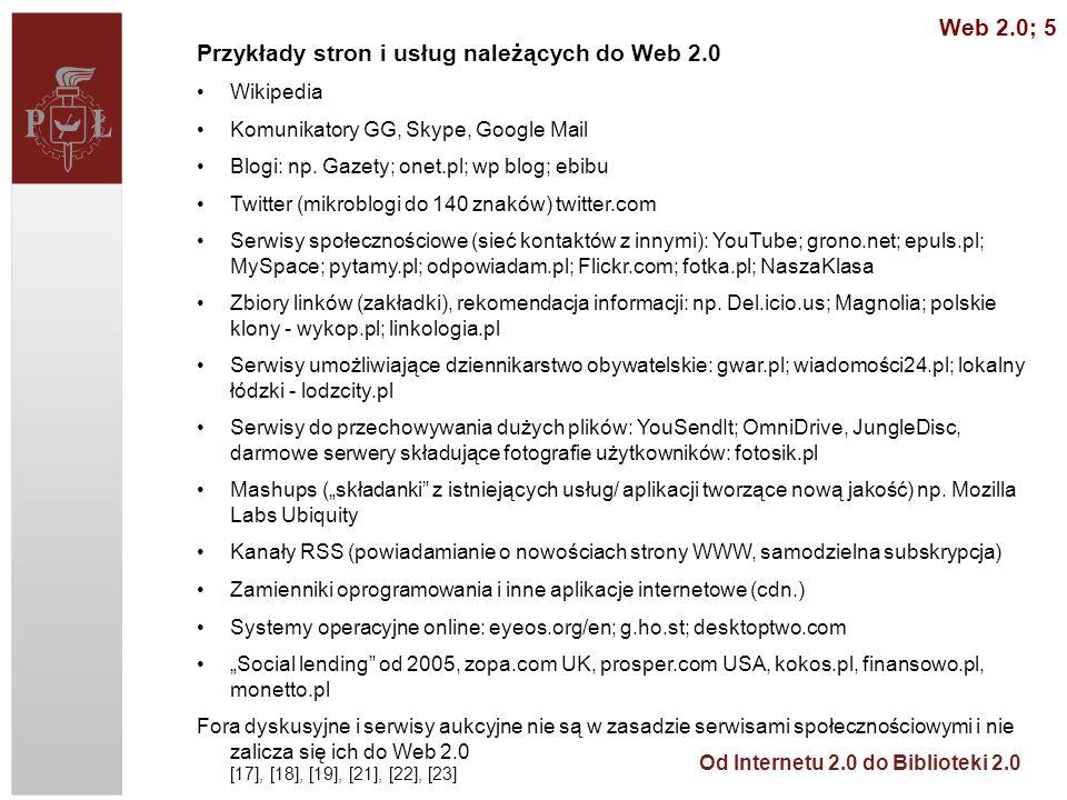 Przykłady stron i usług należących do Web 2.0