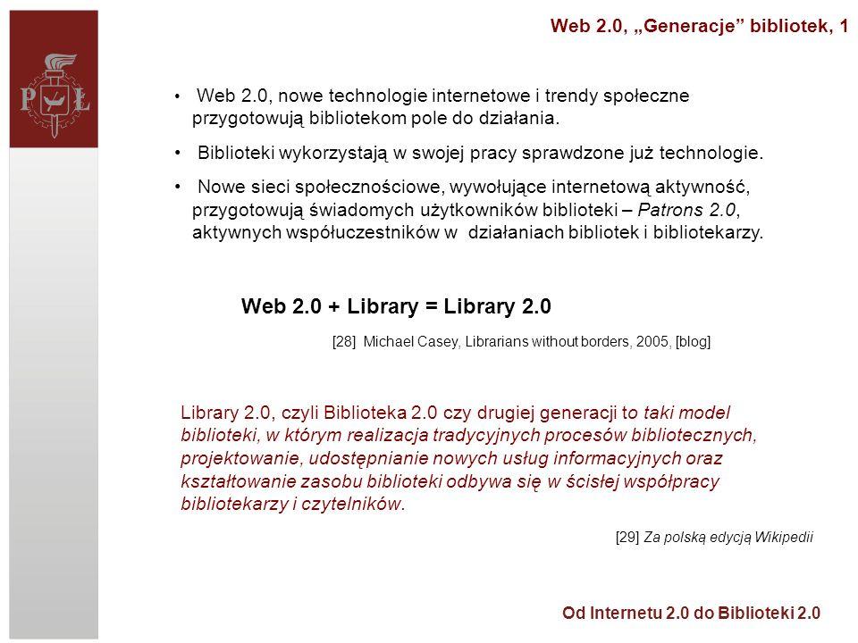 "Web 2.0, ""Generacje bibliotek, 1"